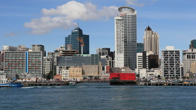 auckland cbd from harbour - auckland ferry stock videos & royalty-free footage