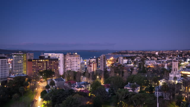 Auckland City Centre Residential Neighborhood - Day to Night Time Lapse