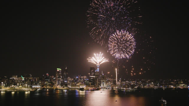 auckland city skyline and fireworks - auckland stock videos & royalty-free footage