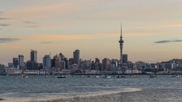 auckland city sunset timelapse - new zealand culture stock videos and b-roll footage
