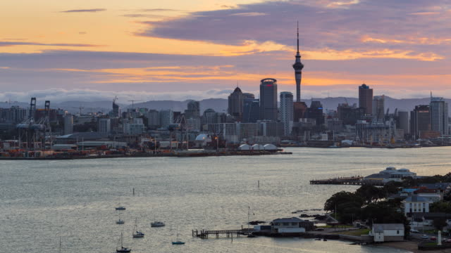 auckland city sunset - waterfront stock videos & royalty-free footage