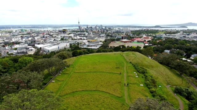 auckland downtown with sky tower from mount eden. - dronebase stock videos and b-roll footage