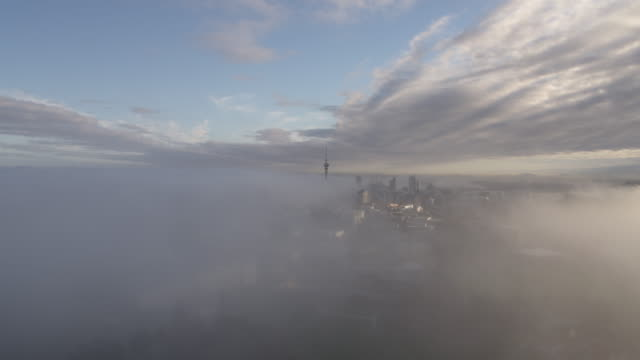 auckland fog_1 - cityscape stock videos & royalty-free footage