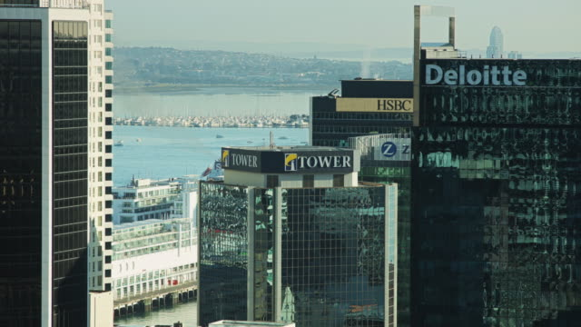auckland marina seen from city centre - bay of water stock videos & royalty-free footage