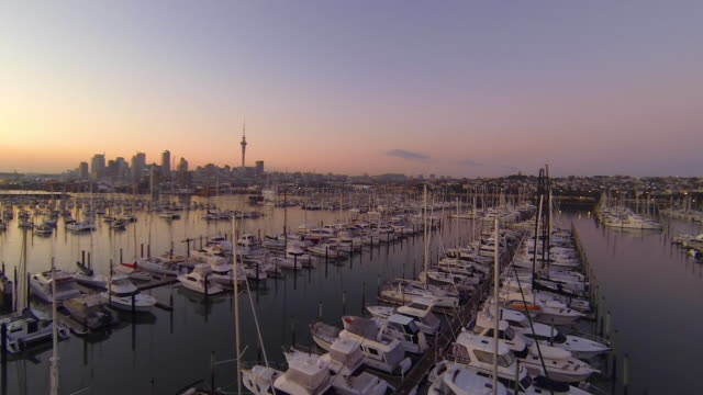 auckland new zealand marina - vista marina stock videos & royalty-free footage