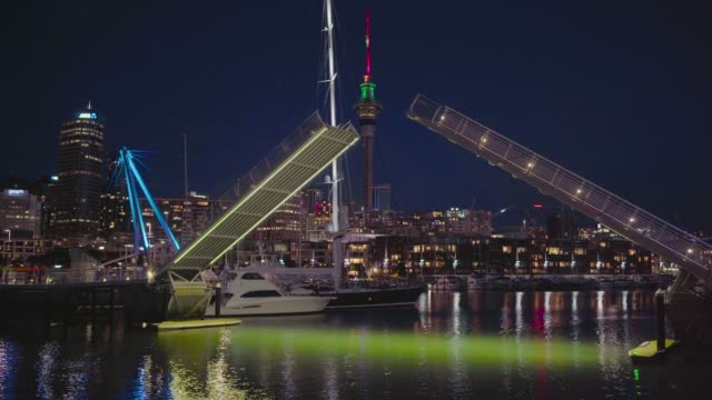 auckland skyline at dusk. - waterfront stock videos & royalty-free footage