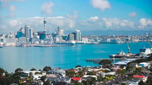 auckland skyline time lapse. - skyline stock videos & royalty-free footage