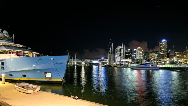 auckland viaduct basin time-lapse - auckland ferry stock videos & royalty-free footage