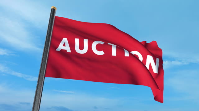 auction flag waving (luma matte included so you can put your own background) - auction stock videos and b-roll footage
