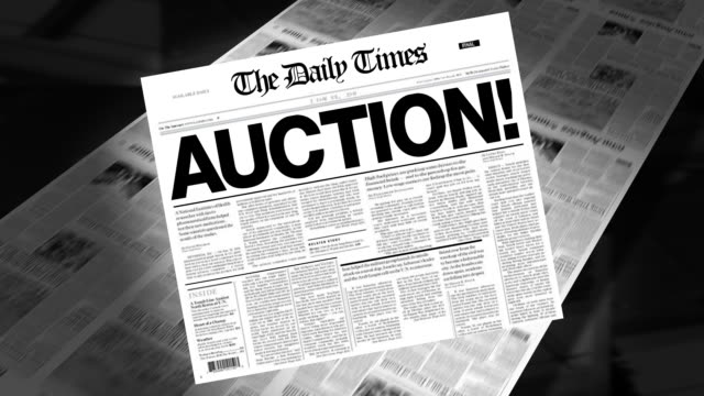 auction! - newspaper headline (intro + loops) - auction stock videos and b-roll footage
