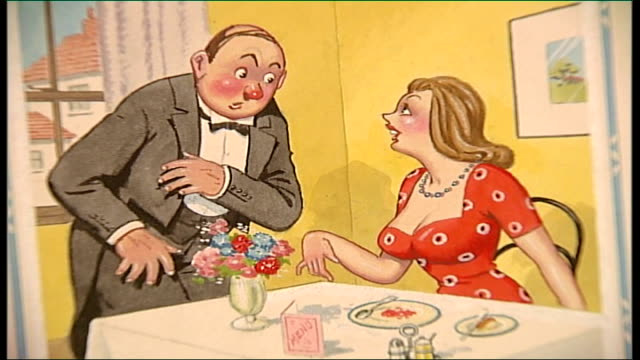 auction of saucy postcards close shot postcard of woman in restaurant speaking to waiter with voiceover caption read sot take this jelly away waiter... - fetishism stock videos & royalty-free footage