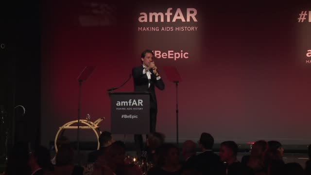SPEECH Auctioneer at 20th Annual amfAR Gala New York at Cipriani Wall Street on February 07 2018 in New York City