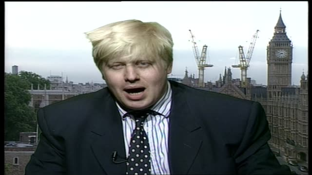 political memorabilia bc4n itn england london westminster boris johnson interviewed sot talks of reasons for appeal of memorabilia of sir winston... - boris johnson stock videos and b-roll footage
