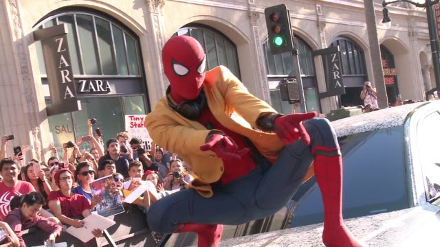 "clean audi arrivals at the world premiere of ""spiderman homecoming"" in los angeles ca - produced segment stock videos & royalty-free footage"