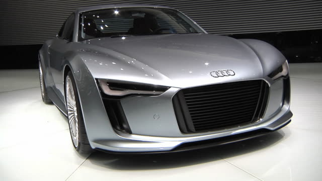 ws zi zo audi e-tron electric powered car on display at 2010 detroit auto show / detroit, michigan, usa - trade show stock videos and b-roll footage