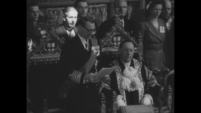 ws audience at guildhall in the city of london during royal visit by king frederick ix of denmark with dais at background / montage sot frederick ix... - politician stock videos & royalty-free footage