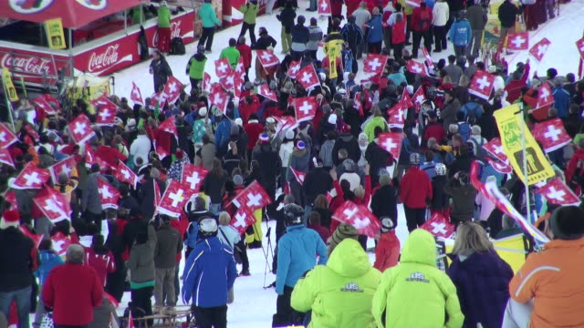 ms audience at lauberhorn ski race / wegen, bernese oberland, switzerland - ski holiday stock videos & royalty-free footage