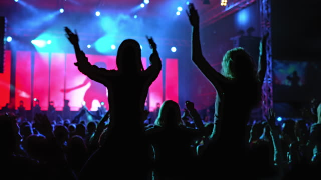 slo mo audience dancing at a night concert - concert stock videos & royalty-free footage