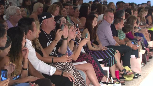 Audience members take in the show at Aguaclara Aquarella Mia Marcelle Sauvage Toxic Sadie Swimwear MercedesBenz Fashion Week Swim 2015 at Cabana...