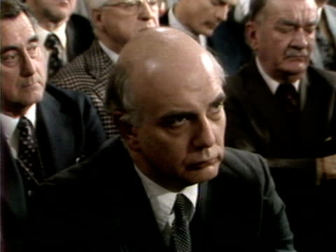 stockvideo's en b-roll-footage met audience watching u.s. president jimmy carter deliver speech on inflation, secretary of the treasury g. william miller in the audience next to... - non us film location