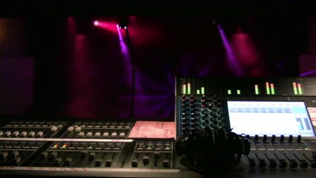 Audio Equipment. Sound mixer. Stage, concert, performance. Headset.