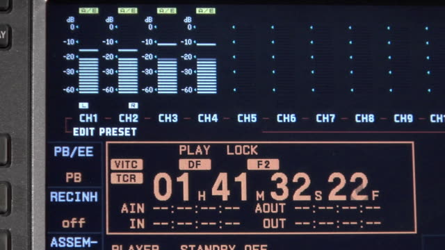 CU Audio meters on tape deck fluctuating while time code advances / New York City, New York, USA