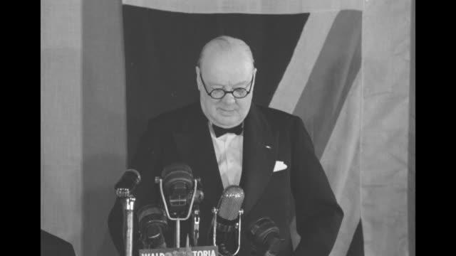 [audio not synchronized] during speech at the waldorfastoria sot former british prime minister winston churchill comments on peace coming from a... - speech stock videos & royalty-free footage