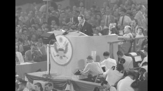 [Audio not synchronized] WS Gen Douglas MacArthur standing on rostrum speaking as he begins his keynote address at the 1952 Republican National...