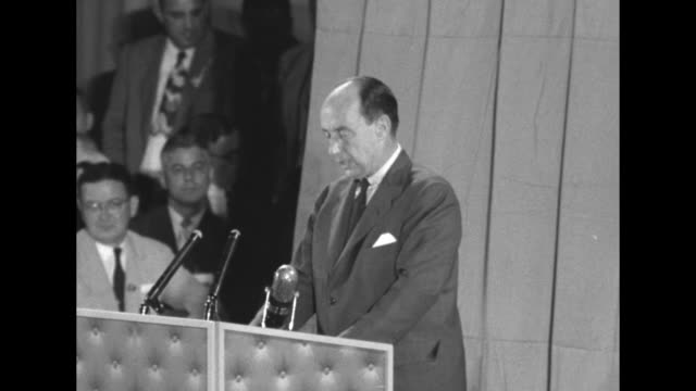 [audio not synchronized] in a campaign speech at the fifth regiment armory in baltimore gov adlai stevenson democratic party candidate for us... - adlai stevenson ii stock videos and b-roll footage