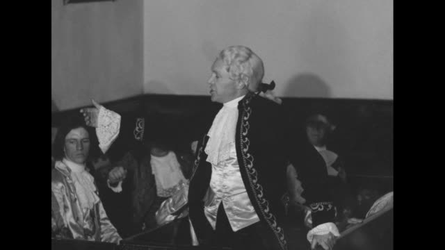 vídeos de stock e filmes b-roll de [audio not synchronized shaky video] reenactment of the virginia house of burgesses meeting against the stamp act with colonel george washington... - george washington