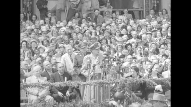 [audio not synchronized] sot general douglas macarthur on dais outside san francisco city hall / general gives speech on korean war and japanese... - general macarthur stock videos and b-roll footage
