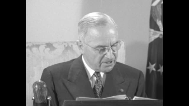 [audio not synchronized] sot pres. harry truman as he reads broadcast address while seated at desk, with microphone nearby: [re motivation of steel... - harry truman stock videos & royalty-free footage