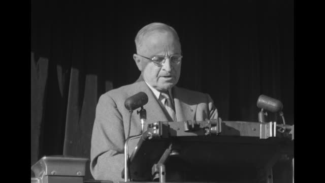 [Audio not synchronized] SOT Pres Harry Truman He has betrayed his principles and his followers not only on foreign policy but on the defense of the...