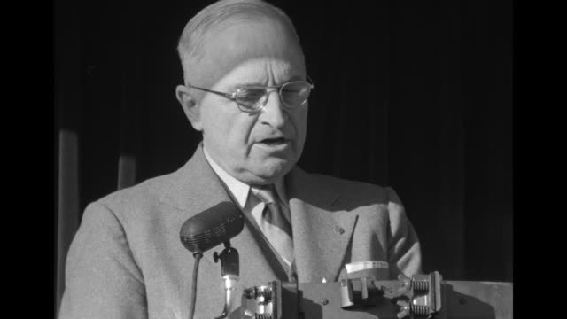 [audio not synchronized] sot pres. harry truman highly praises former secretary of defense george c. marshall, naming the ways that marshall... - harry truman stock videos & royalty-free footage