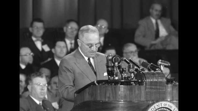 [Audio not synchronized] SOT Pres Harry Truman I want to emphasize again that I have not gone into this matter to detract from the great achievements...