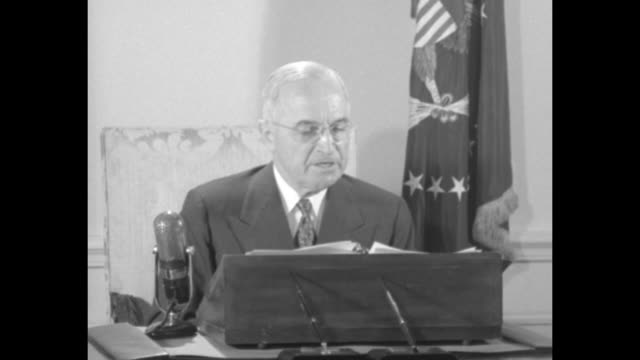 [audio not synchronized] sot pres harry truman reading broadcast address into microphone while seated at desk [regarding propaganda and facts about... - metal blend stock videos and b-roll footage