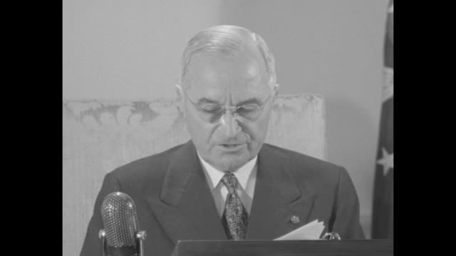[audio not synchronized] sot pres harry truman reads broadcast address i am directing the secretary of commerce to take possession of the steel mills... - nationalization stock videos & royalty-free footage