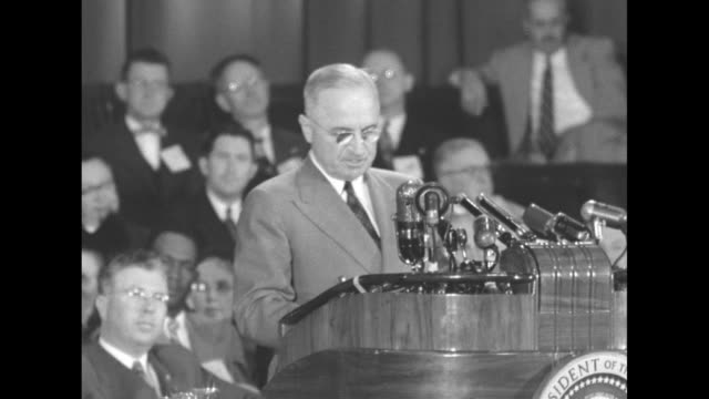 "[audio not synchronized] sots pres. harry truman, during campaign appearance at oakland civic auditorium: ""in the case of korea, the decision that is... - harry truman stock videos & royalty-free footage"