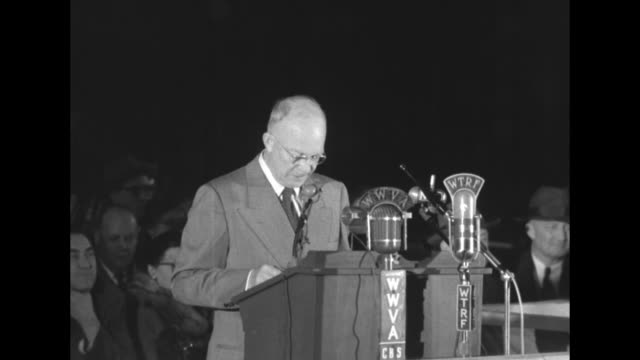 [Audio not synchronized] SOTs Republican Party presidential candidate Dwight Eisenhower reading speech while wearing eyeglasses in front of WWVA and...