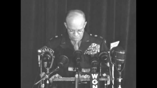 [audio not synchronized] us gen dwight eisenhower continues his speech at the palmer house luncheon of the american legion's chicago national... - campo di concentramento di buchenwald video stock e b–roll