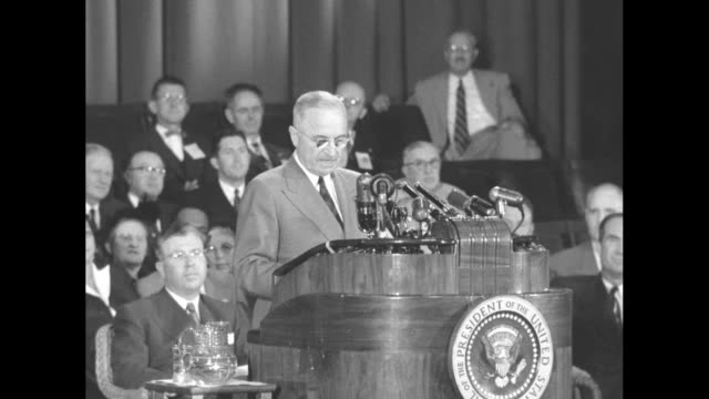 [Audio not synchronized] VS SOTs Pres Truman continues campaign speech on behalf of Adlai Stevenson at the Oakland Civic Auditorium He is spreading...