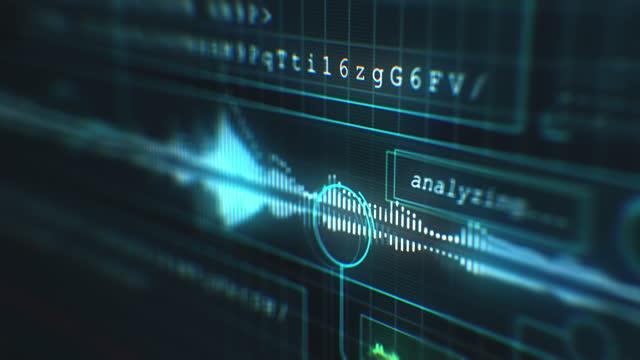 stockvideo's en b-roll-footage met audio-opname op futuristische computerinterface - grafische gebruikersinterface