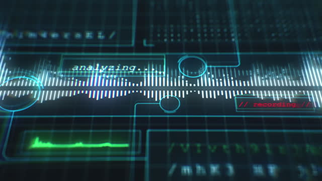 ljudinspelning på futuristiskt datorgränssnitt - analysera bildbanksvideor och videomaterial från bakom kulisserna