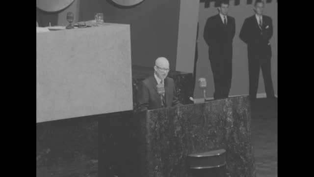 [audio slightly off-synch] vs sots president dwight eisenhower, wearing eyeglasses, appears before the general assembly of the united nations and... - nuclear bomb stock videos & royalty-free footage