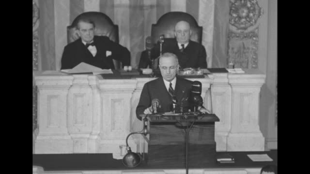 [audio speed issues throughout] two shots of pres harry s truman on speaker's platform giving speech in the house of representatives chamber at the... - sam rayburn video stock e b–roll