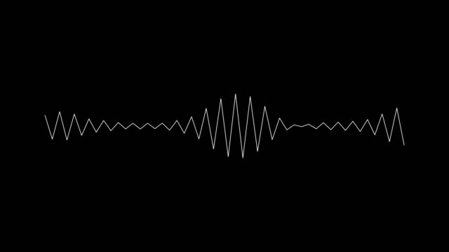 audio wave on black background. - wave pattern stock videos & royalty-free footage