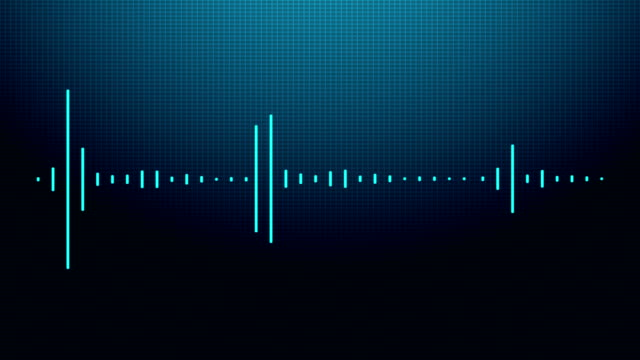 vídeos de stock e filmes b-roll de audio waveform mono blue - dance music