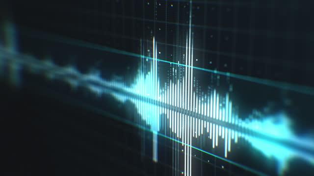 vídeos y material grabado en eventos de stock de espectro de forma de onda de audio en interfaz futurista - frecuencia