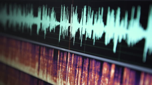 audio waveform timeline on screen - audio software stock videos & royalty-free footage