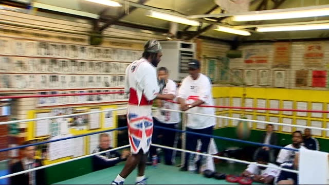 Audley Harrison interview and training shots **MUSIC HEARD in background** Various shots of Audley Harrison shadow boxing in ring during training...